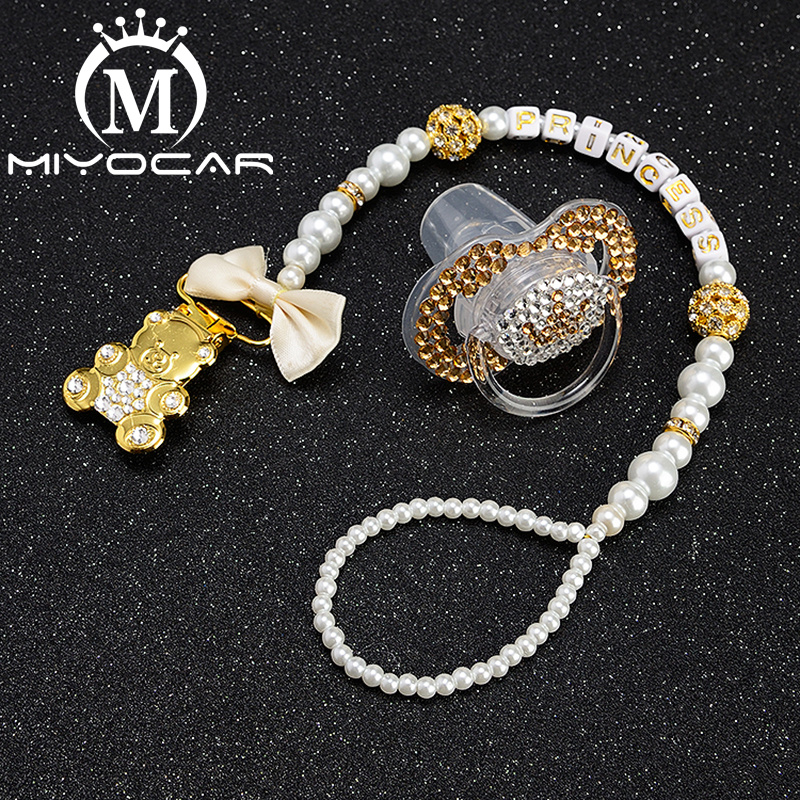 MIYOCAR Any Name Elegant Luxury Bling Bear Pacifier Clip  Holder Pacifier Holder With Bling Gold Crown Bling Pacifier SP016