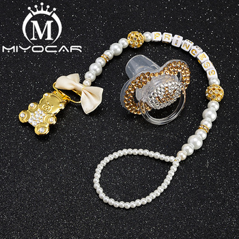 MIYOCAR any name Elegant luxury bling bear pacifier clip  holder with gold crown SP016
