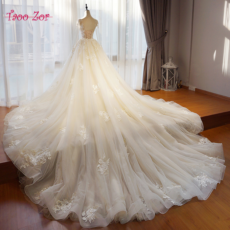 Detachable Trains For Wedding Gowns: TaooZor Scoop Neck Appliquses Cap Sleeve A Line Wedding