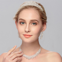 2018 Delicate Bridal Set Crown Necklace And Earrings Set Sprkling Rhinestone Crystal Handmade Wedding Jewelry Set Parting Gifts