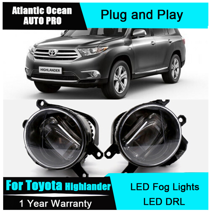 Car Styling LED fog lamps For Toyota Highlander led DRL with lens 2009-2013 For Highlander LED fog lights+led DRL parking for opel vectra c estate 2003 04 05 06 07 car styling led fog lamps fog lights drl refit blue 12v 2 pcs