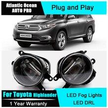 Car Styling LED fog lamps For Totoya Highlander led DRL with lens 2009-2015 For Highlander LED fog lights+led DRL parking стоимость
