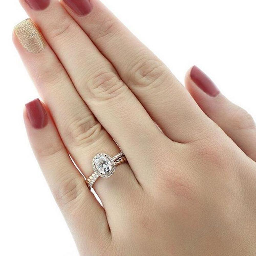 Elegant Oval Shiny Rhinestone Cross Finger Ring Engagement Women Jewelry Decor