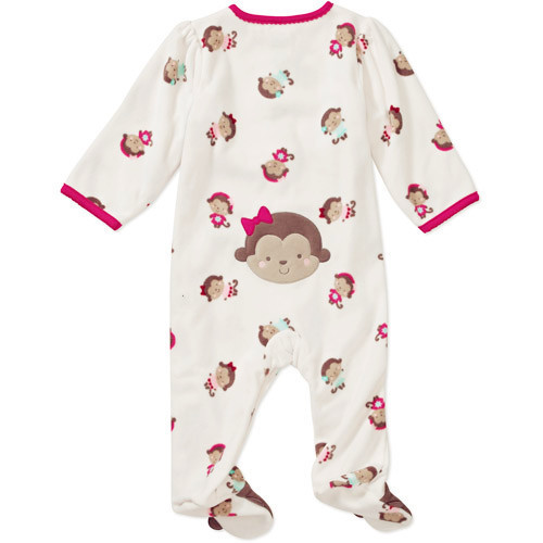 8f59e880c Brand Carter's Baby girl's pink monkey sleep and play child of mine fleece footed  pajamas