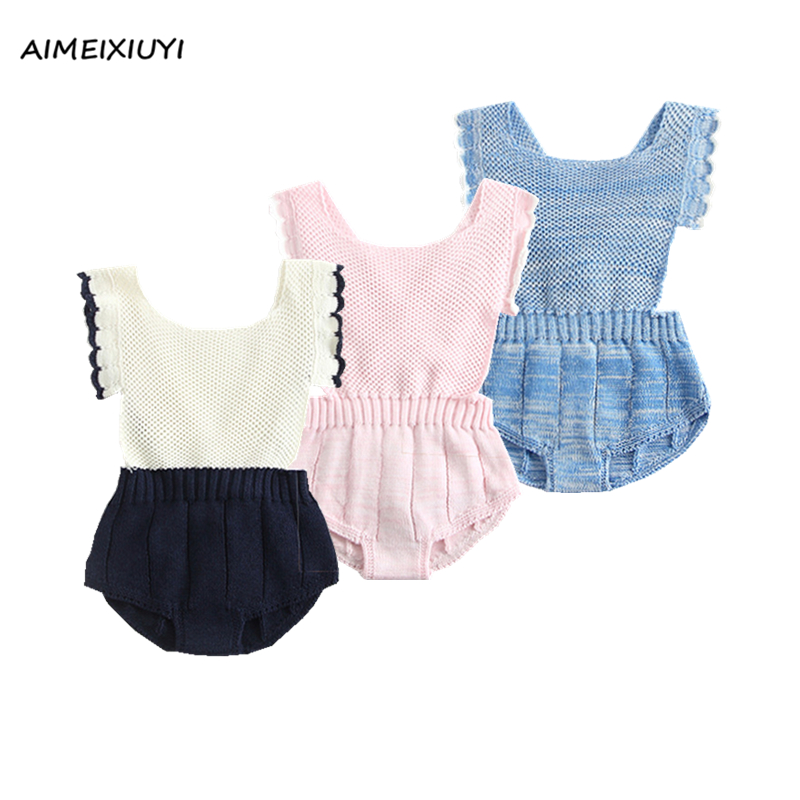 Baby Handmade Crochet Knitted Rompers 2017 Autumn Fashion Boys Girls Back Cross Strap Overalls Jumpsuits Bib Pants Kids Clothes cotton baby rompers set newborn clothes baby clothing boys girls cartoon jumpsuits long sleeve overalls coveralls autumn winter