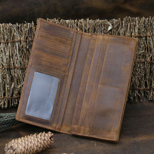 Foreign trade crazy horse leather mens long wallet quality pure retro 1008