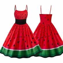 Summer Women Vintage Evening Party Waistband Strap Swing  Dress Watermelon