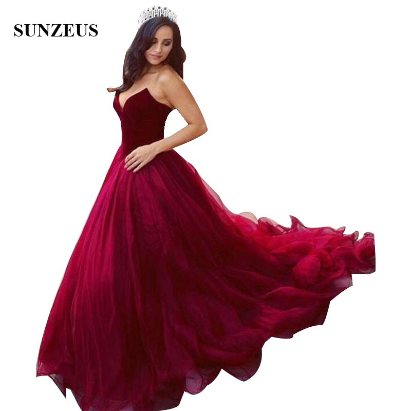 A-line Sweetheart Burgundy   Prom     Dresses   Velvet Top Long Tulle Party Gowns Simple Elegant Princess Formal Wear Women