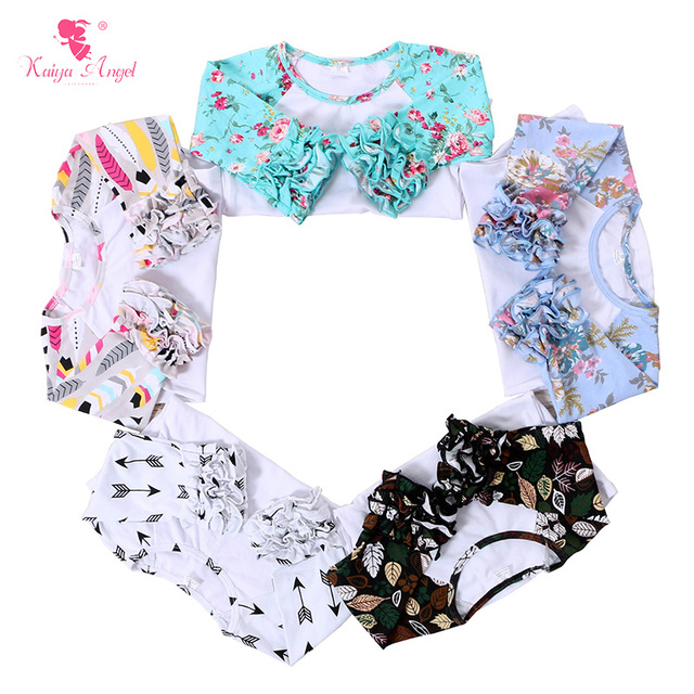 1c269bb90da8 Ruffle Raglan Shirts Floral Icing Girls Shirt Feather Print Icing ...