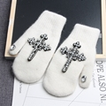 2016 Women winter Gloves Diamond Cross Stitch Girls Wrist Gloves Warm Casual Winter Gloves Women's Mitten Thick gloves