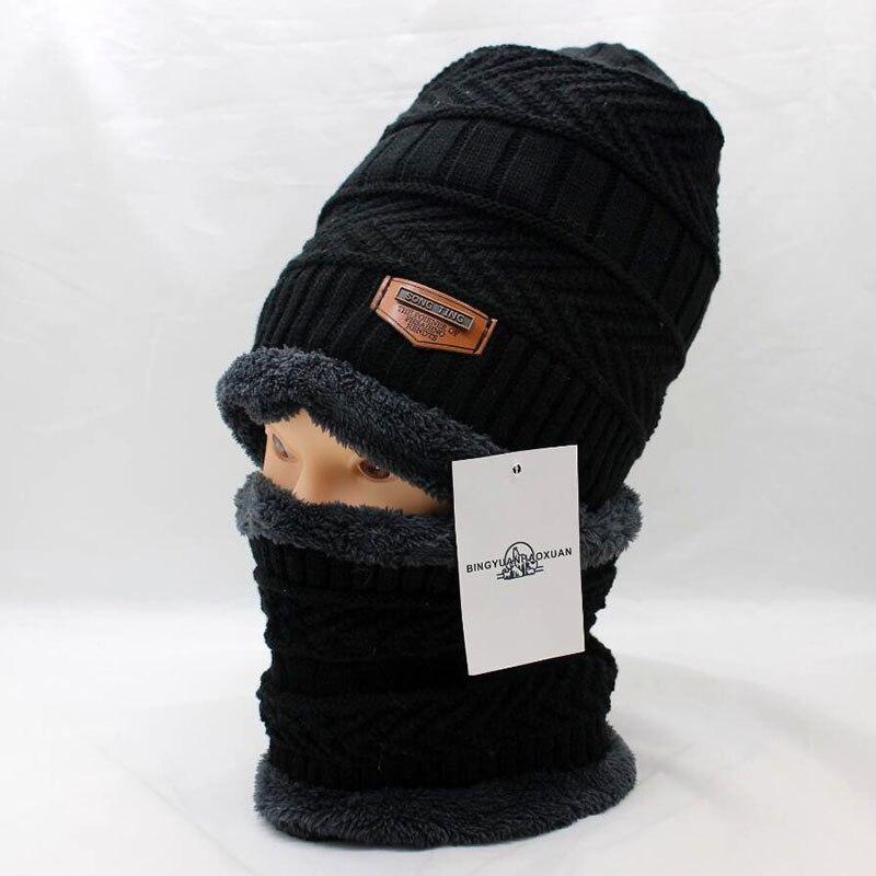 6ac0c5b088631 BINGYUANHAOXUAN 2017 Men Warm Hats Cap Scarf Winter Wool Hat Knitting for Men  Caps Lady Beanie Knitted Hats Women s hats War ב-BINGYUANHAOXUAN 2017 Men  Warm ...