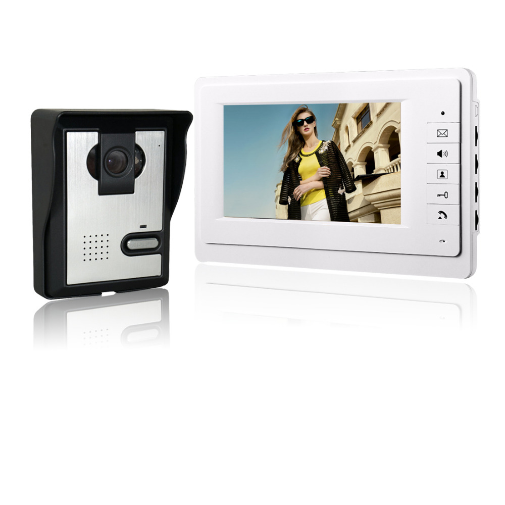 SYSD wired video door bell intercom home security system video door phone 7'' TFT LCD monitor waterproof night vision camera 7 inch password id card video door phone home access control system wired video intercome door bell