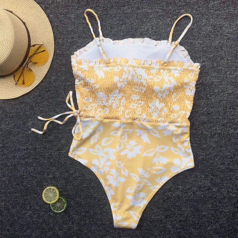 ZAFILLE Flower Printed Swimwear Women One Piece Swimsuit Bandeau Maillot De Bain Femme 2019 New Bathing Suit Women Bikini Mujer in Body Suits from Sports Entertainment