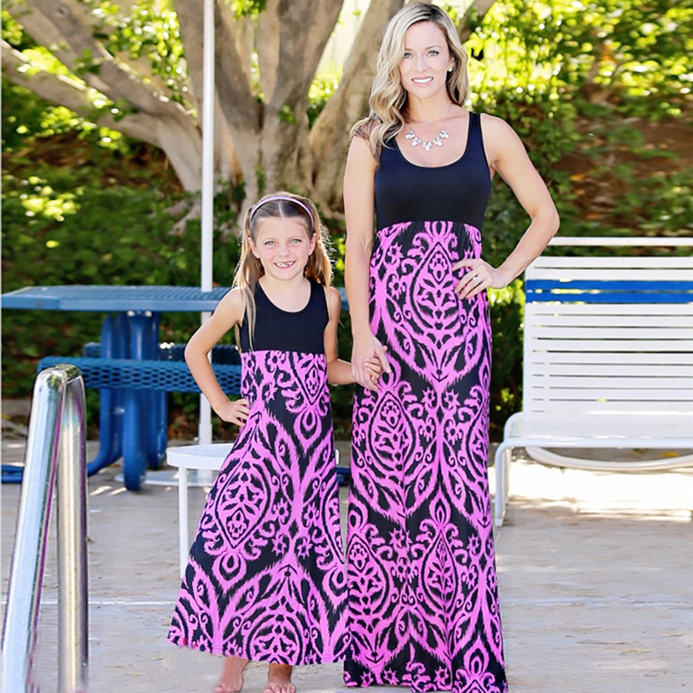 2018 New summer O-neck dress Mommy Me Women Print Sundress Vest Sleeveless Slim Dress Family Clothes