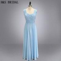 Real photo long chiffon blue bridesmaid dresses