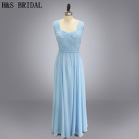 Real photo long chiffon blue bridesmaid dresses