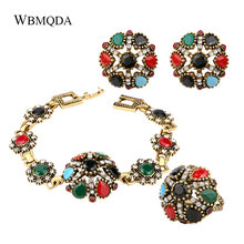 3 Pcs/lot Indian Jewelry Sets Antique Gold Colorful Resin Flower Ring Bracelet Earrings For Women Bohemian Jewellery(China)