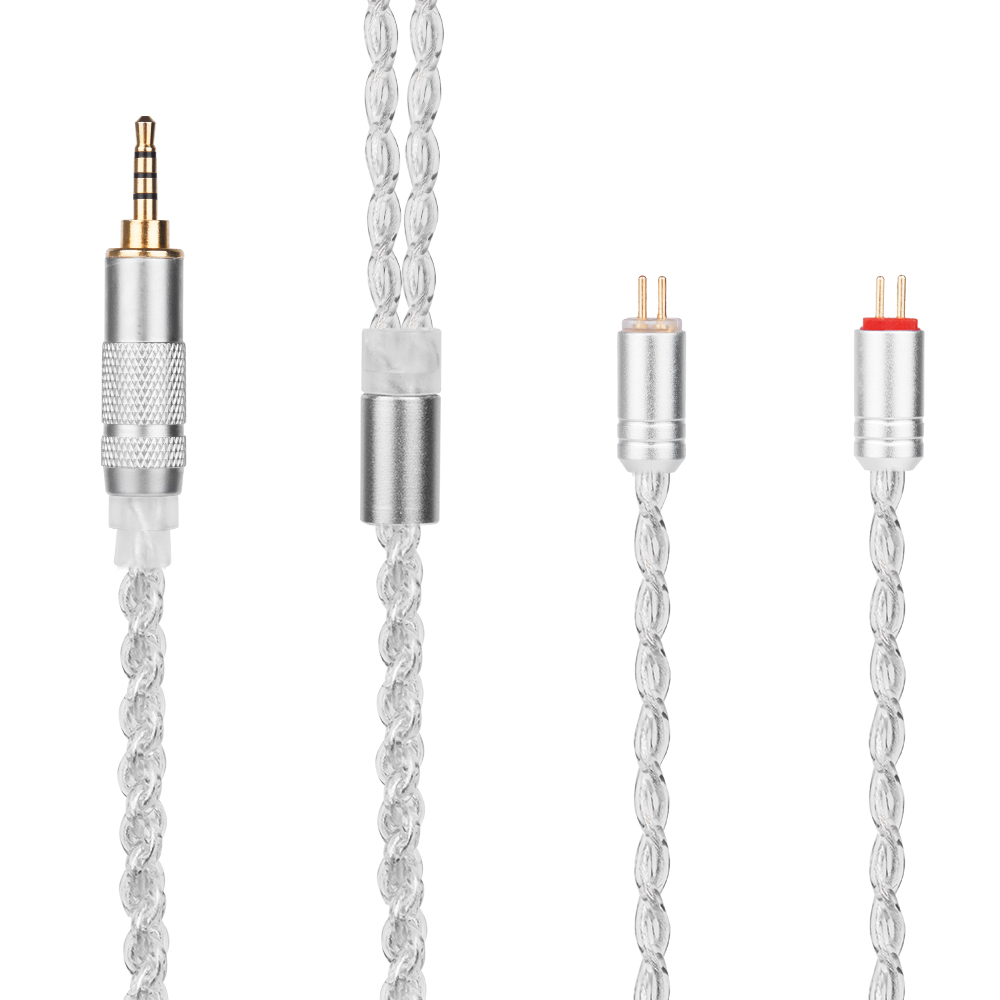 Yinyoo H3 H5 4 Core Upgraded Silver Plated Cable 3.5/2.5/4.4mm Earphone Cable With MMCX/2pin For LZ A5 KZ ZS10 ZST ZAR ES4 ZS6 wooeasy upgrade tin plated copper silver cable 2 5 3 5 4 4 balanced cable with mmcx 2pin jack for kz zs6 zs5 zst zs10 lz a5