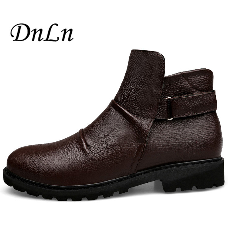Men Boots Winter With Fur 2017 Warm Snow Boots Men Winter Boots Work Shoes Men Footwear Genuine Leather Ankle Shoes D50 winter men genuine leather boots fashio winter boots warm cotton ankle boots lace up fur men shoes fashion footwear snow boots 5