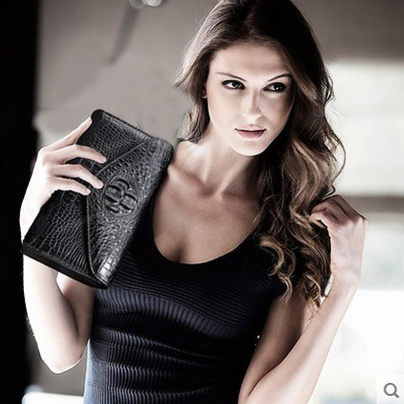 VV Crocodile skin Women's purse, a large capacity women's clutch bag star with women wallet ouluoer thailand imported crocodile skins the lady women purse with a purse and a long women wallet