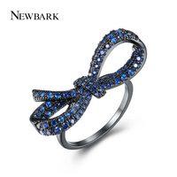 NEWBARK Vintage Finger Ring Black Gun Color Elegant Blue Cubic Zirconia Pave Lovely Large Bowknot Rings for Women Jewelry
