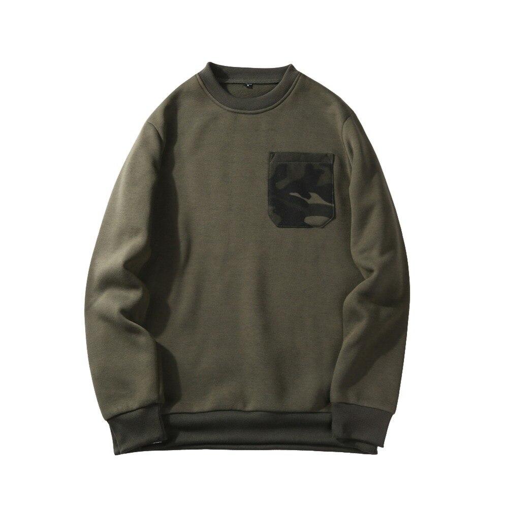 Mode camouflage chandail de poche hommes lâche fit polaire doublure sweatshirts pull survêtement nouveau 2019 automne