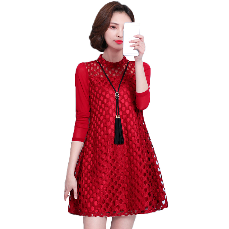 2018 Spring Autumn Dress Sexy Patchwork Lace Hollow Out Dresses Women Elegant Loose Slim Party Dress Vintage Vestidos FP0331