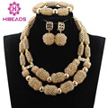 African Beads Jewelry Set Champagne Gold Crystal Beaded African Jewelry Set Dubai Gold Necklace Earrings Bracelet Set  ANJ324