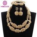 Beads africanos Jóias Definir Ouro Champagne Cristal Frisado Conjunto de Jóias Africano Dubai Colar de Ouro Brincos Pulseira Conjunto ANJ324