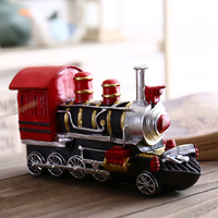 Vintage Machine Money Boxes Retro Train Model House Piggy Bank Home Table Resin Minitures Kids Toy