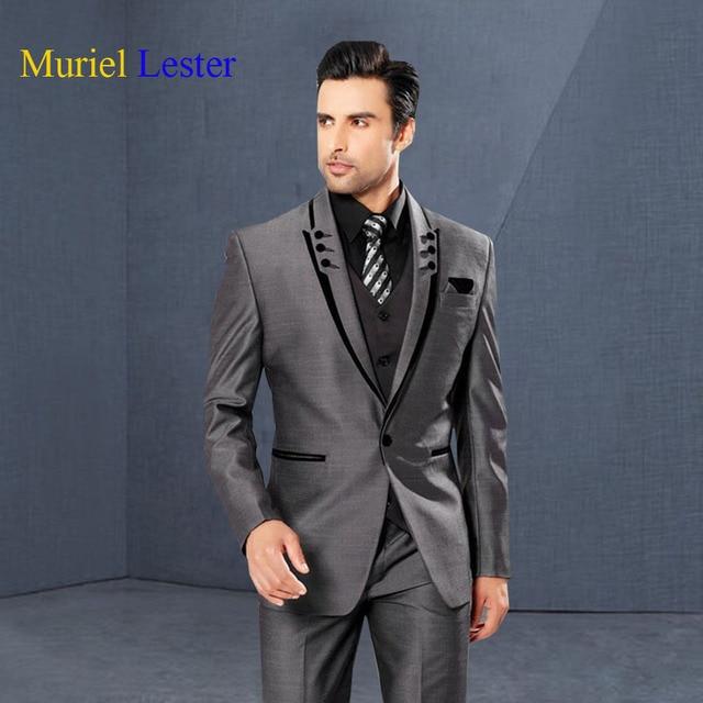 591e812213 Muriel Lester Mens Suits Slim Fit Peaked Lapel Grey Wedding Tuxedos For  Groom 2018 Groomsmen Suits One Button 3 Piece Men Suit