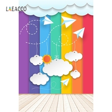 Laeacco Cartoon Rainbow Color Cloud Baby Portrait Photography Background Customized Photographic Backdrops For Photo Studio