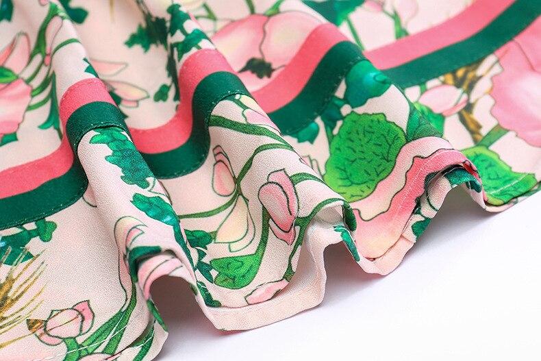 LINDA · 秋のファッション滑走路長袖ドレス女性のベルト付き襟多色花柄ヴィンテージエレガントなドレス 2019 14