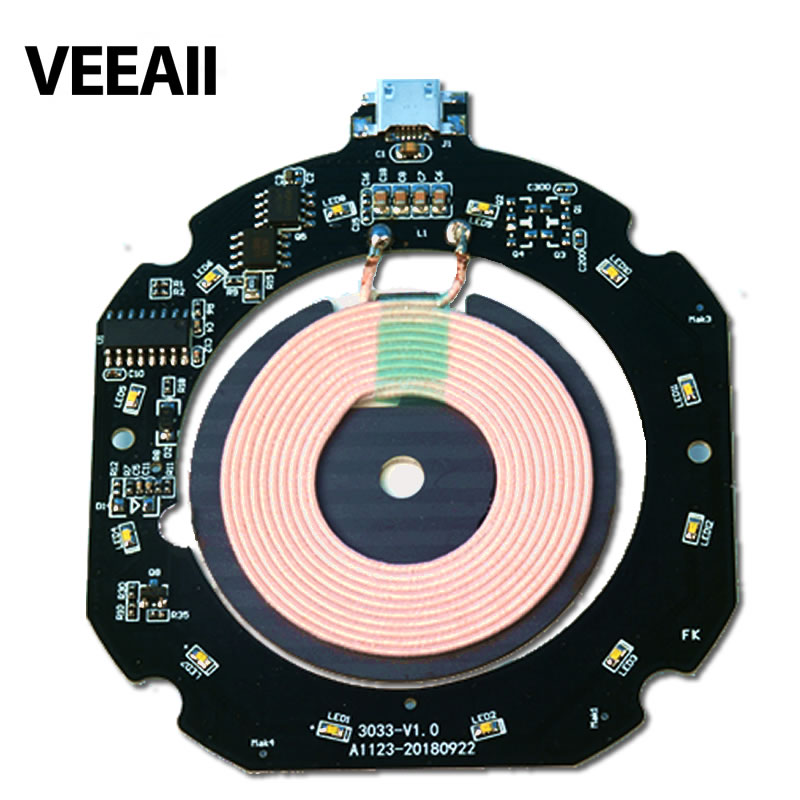 VEEAII 5W Wireless chager PCBA Circuit Board Coil Wireless Charging Micro USB Port DIY for Samsung S8 Qi Wireless Charger fast
