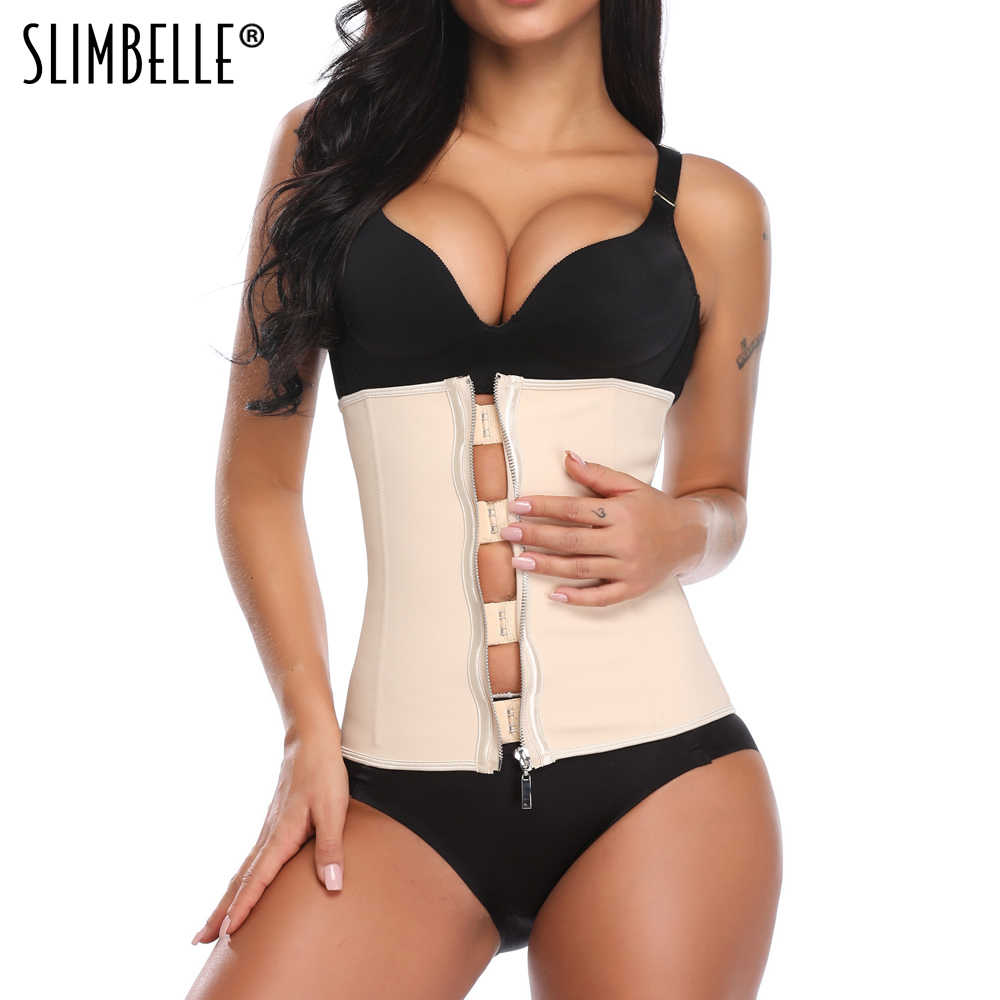 063c2aae744 ... Women Waist Trainer Corset Body Shaper Black Latex Rubber Steel Boned  Zippers Firm Waist Cinchers Modeling ...