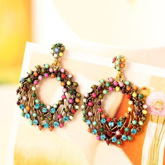 1 Pair Variopinti Delle Donne Charming Etnico Vintage Trendy a forma di Tondo Co