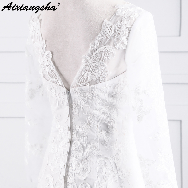 Double V-neck Cap Long Sleeve Lace Tulle Long Elegant Wedding Gown