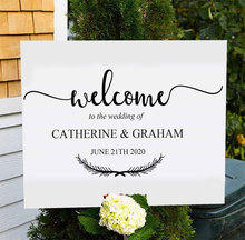 Welcome To The Wedding Quote Decal Custom Bride And Groom Name Date Sticker Vinyl Decor Sign Removable Mural Gift WE11