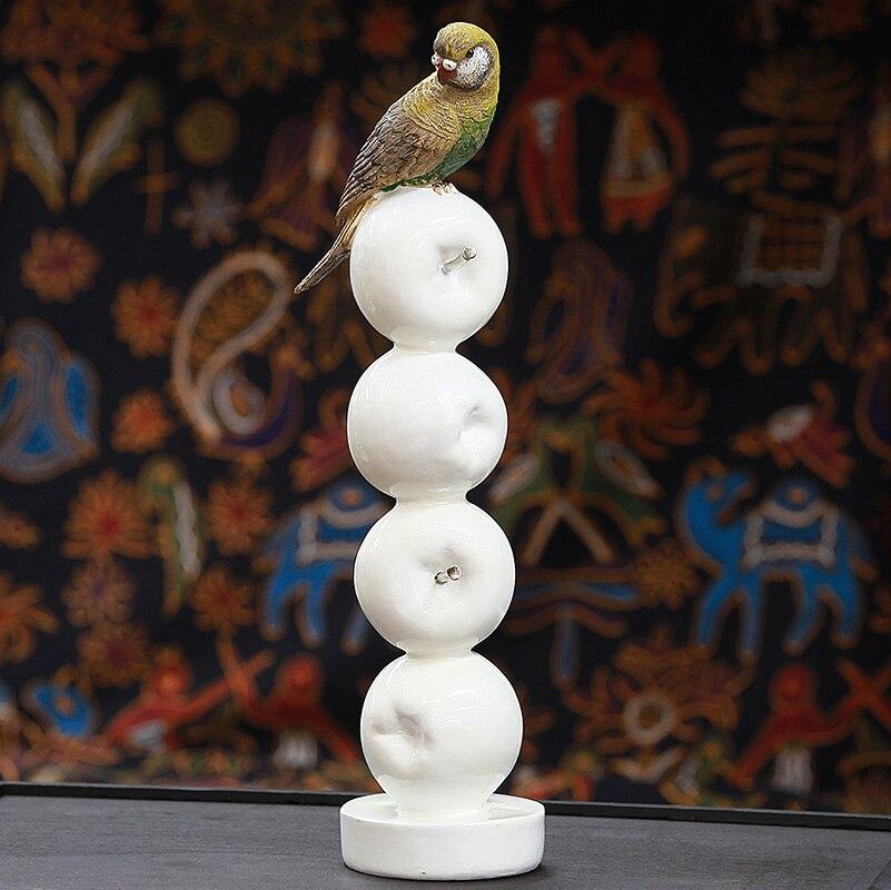 Chaud! Perroquet moderne Style européen jardin oiseau ornement Pop Art résine artisanat pomme Figurine Statue meilleur cadeau, livraison gratuite - 5