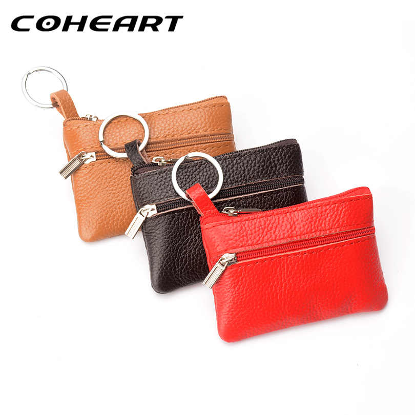 COHEART Genuine Leather Wallet for Women and Men Coin Purse Mini Wallet Small Real Leather Coin Wallet with Key Ring Top Quality