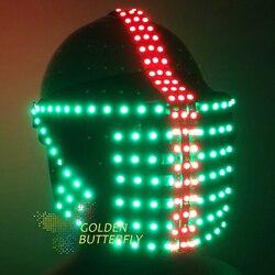 LED helm Monochrome vollfarbe leucht helme 2017 Mehrere Punkt quelle Glowing RBG helm Party DJ Robot Maske zubehör