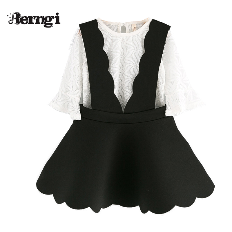 Berngi Girl Clothing sets New Fashion Autumn girls White Lace Long Sleeved Shirt+Black suspender skirt two piece suit 2017 autumn girl doll shirt the fashionable two piece set of pure color lotus leaf coat with harness sets tide