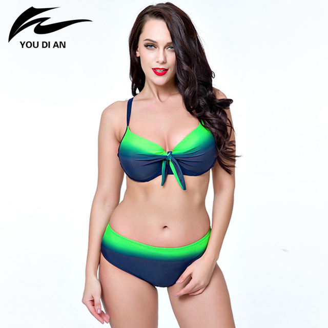 eface9c298 Sexy Women Plus Size Swimwear Large Cup Push Up Bikini Set Green   Black  Two Pieces Swimsuit For Women Bathing Suit