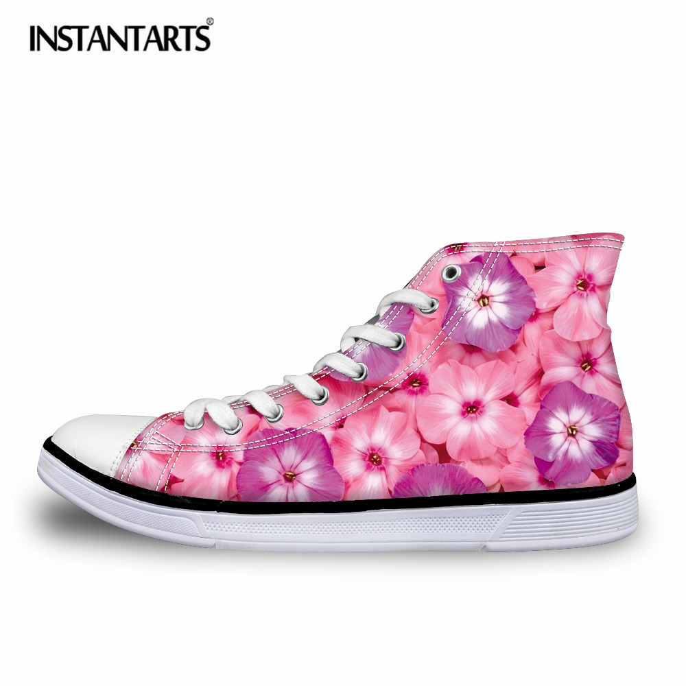 INSTANTARTS Fashion Flower Printing Women Vulcanize Shoes Spring High Top Canvas Shoes for Teenagers Casual Lace Up Flat Shoes e lov women casual walking shoes graffiti aries horoscope canvas shoe low top flat oxford shoes for couples lovers