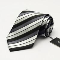 2017 High Grade Brand Dress Tie Men's Business Professional Formal Ties 9CM Wide Blue Striped Interview Necktie wish Gift BOX