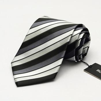 2019 High Grade Brand Dress Tie Men's Business Professional Formal Ties 9CM Wide Blue Striped Interview Necktie wish Gift BOX
