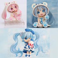3pcs/set Q Version Snowman The Polar Bear Miku Japanese Anime Figures Action Toy Pvc Model Collection Girls Kids Lover gift
