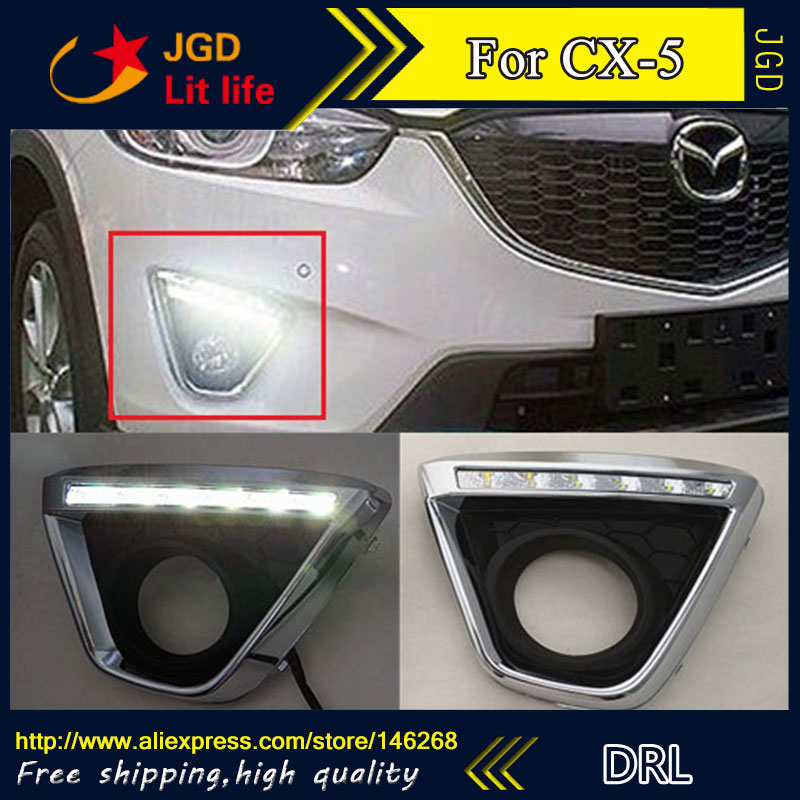 Free shipping ! 12V 6000k LED DRL Daytime running light for Mazda CX-5 CX5 fog lamp frame Fog light Car styling