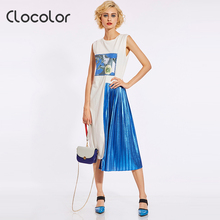 Clocolor Woman Summer Dress Pink Yellow Blue Pleated Patchwork Print Letter Color Block Dress Woman Summer Asymmetrical Dress