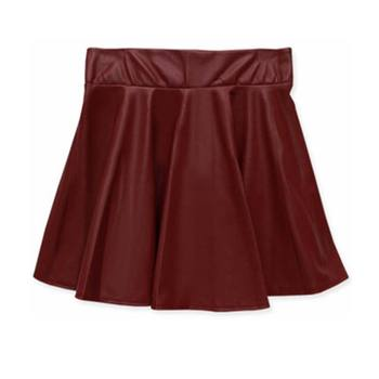Women High Waist PU Leather Skater Mini Skirt Solid Color Sexy Short Pleated Skirts  XRQ88 8